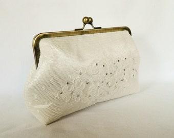 Ivory Lace Bridal clutch purse, Ivory Lace Clutch, Wedding Clutch Purse, Lace Design, Brides Clutch Purse