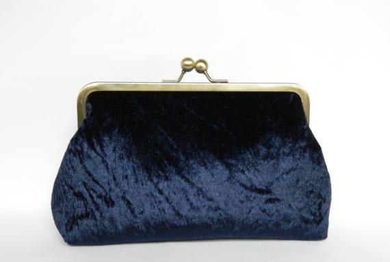 4448e63e3ebae Velvet Clutch Purse Navy Blue Velvet Clutch Bag Clutch