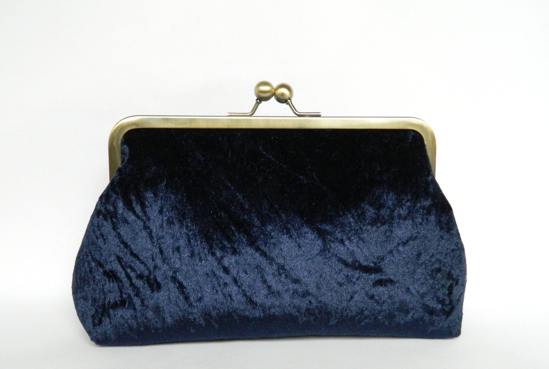 acb8e14e9 Velvet Clutch Purse Navy Blue Velvet Clutch Bag Clutch   Etsy