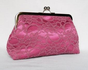 Pink Lace Clutch, Clutch purse, Bridal Clutch, Wedding Clutch, Pink Clutch, Bridesmaid Clutch, Bridesmaids Gift, Evening Clutch, Clutch Bag