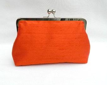 Orange Clutch, Clutch Purse, Orange Silk Clutch,Orange Bridal Clutch,Orange Wedding Clutch, Bridesmaid Gift, Bridesmaids Clutch, Handmade UK