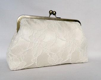 Clutch purse, Bridal Clutch, Wedding Clutch, Lace Clutch, Cream Lace Clutch, Bridesmaid Clutch, Bridesmaids Gift, Evening Clutch