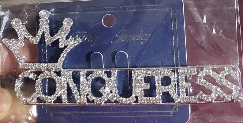 Crowned CONQUERESS Rhinestoned Brooch