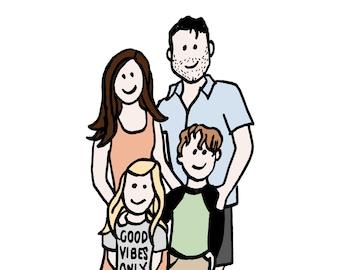 Custom Family of 4 Illustration