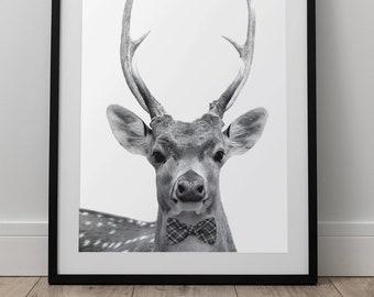 Bowtie Deer Print - Forest Animal Wall Art, Digital Download, Deer Poster, Animal Portrait, Black And White, Woodland Nursery