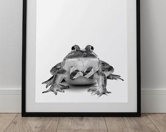 Bowtie Bullfrog Print - Forest Animal Wall Art, Digital Download, Bullfrog Poster, Animal Portrait, Black And White, Woodland Nursery