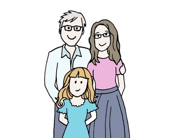 Custom Illustration - Family of 3