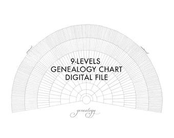 Blank Genealogy Chart - Digital File - 9 Levels