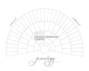 Blank Genealogy Chart - Digital File - 6 Levels