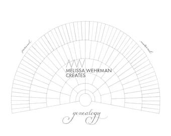 Blank Genealogy Chart - Digital File - 7 Levels