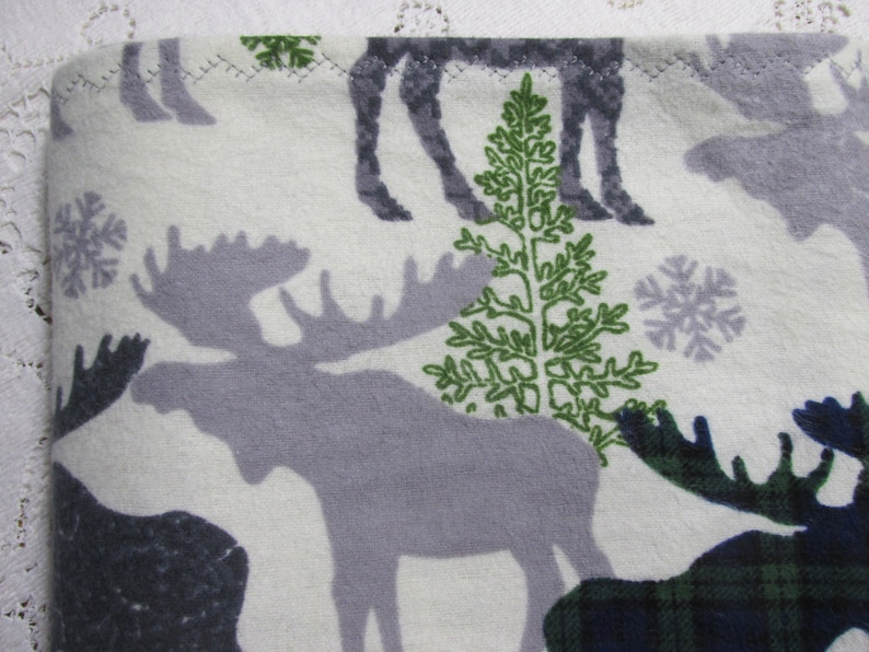 Hannahs Homestead2 Baby Gift Extra-Large Receiving Blanket Moose /& Trees with Blue and Green Plaid Design Flannel Baby Crib Blanket