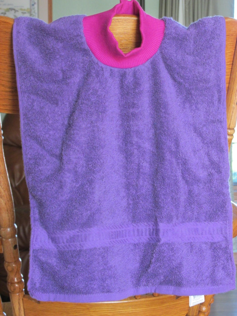 Towel Bib with Neck Ribbing Hannahs Homestead2 Choice of Colors Purple Pink White Teal Gray Blue Green Brown Black Gray Stripes Dk Blue