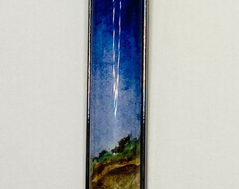 Mini Watercolor Night Pastures Painting Pendant