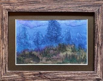 Ghost Tree Looming, Framed Watercolor, Night Pastures Series