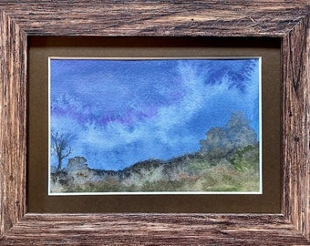 Rolling Into the Night, Framed Watercolor, Night Pastures Series