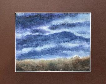 Night Drifting, Matted Watercolor, Night Pasture Series
