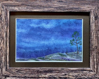 Evening Rise, Framed Watercolor, Night Pastures Series