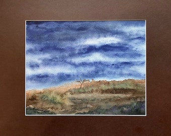 Lone in the Night, Matted Watercolor, Night Pasture Series