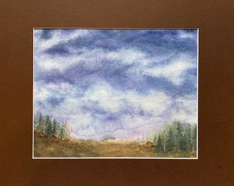 The Night Enters, Matted Watercolor, Night Pasture Series