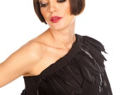 Asymmetric Black Long Evening Dress with Feathers , Off One Shoulder and split on the back.