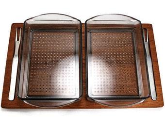 Danish Teak Serving Tray,Vintage Teak Snack Set,Retro Savoury Set,Luthje Wood Denmark 1970's, Collectible Teak Trays