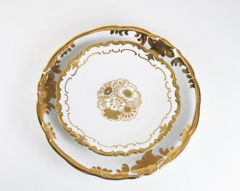 Vintage Cake Plates, Gold Gilded Floral Pattern, Candle Plates, Reichenbach Porcelain Germany 1970's