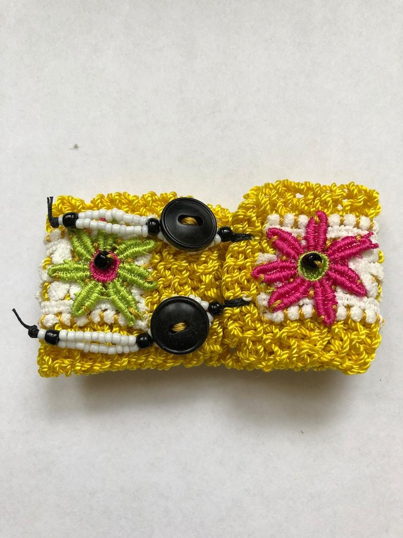 All Soul/'s Day Dia De Los Muertos Jewelry Green /& Pink Flowers Halloween Day of the Dead Cuff Bracelet Skull Knit Mustard Yellow