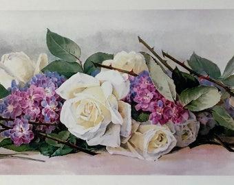 Paul DeLongpre YARD LONG Print White Rose and Lilacs