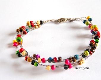 Multicolor crochet wooden bracelet