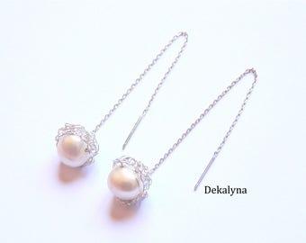 Dangle earrings chain Perle Ecru crocheted
