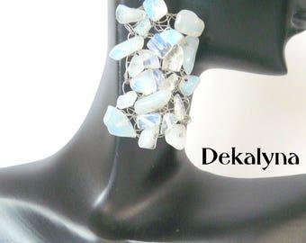 White earrings crochet by Dekalyna, made in France