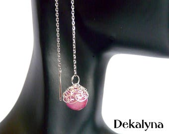 Gemstone and sterling silver long earrings by Dekalyna Jade