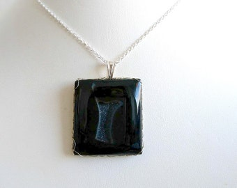 Made in France silver black Agate pendant
