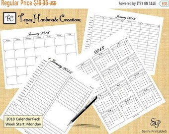 clearance 2018 printable calendar set annual monthly weekly daily monday start day pdf formatus letter sized digital file