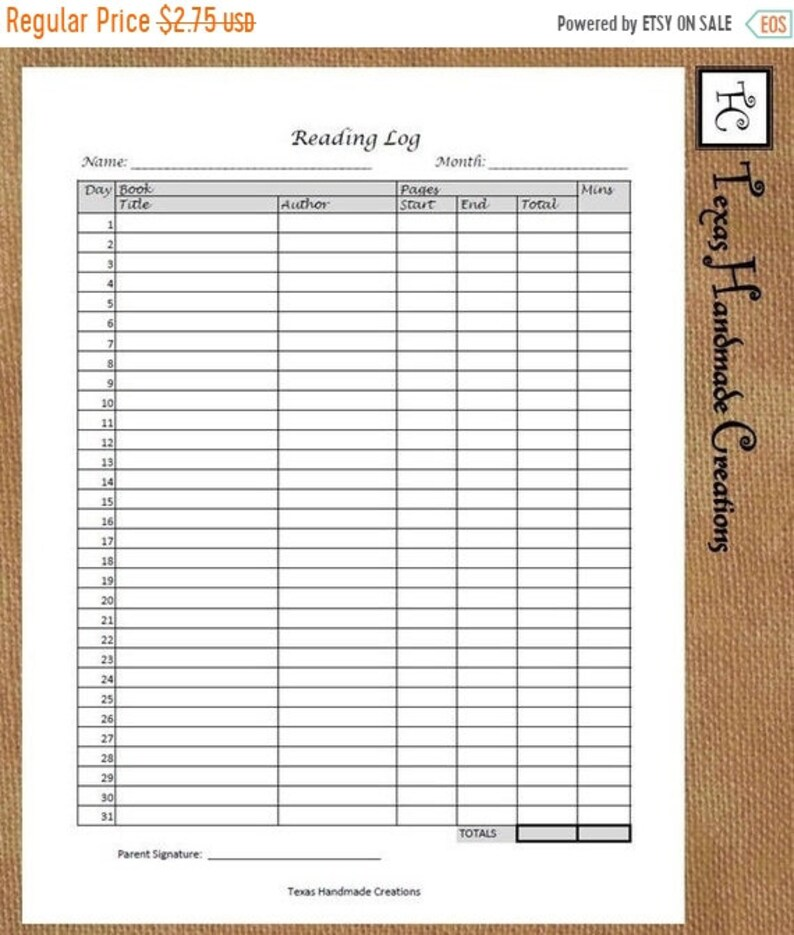 25% CLEARANCE Printable Monthly Reading Log PDF Format US image 0