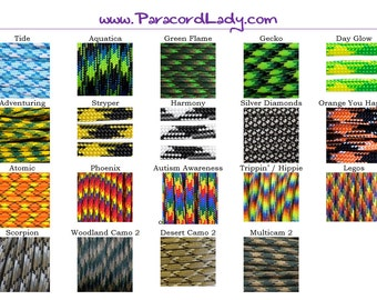 25 Feet of Paracord (Select your lengths and colors) 550 Parachute Cord