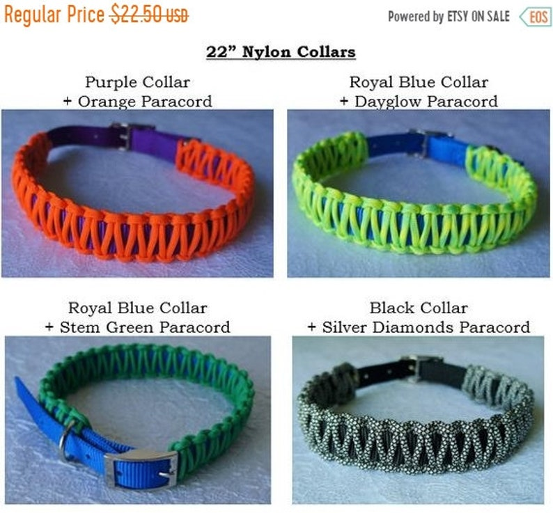 50% CLEARANCE 22 Nylon Dog Collar with Paracord Overlay image 0