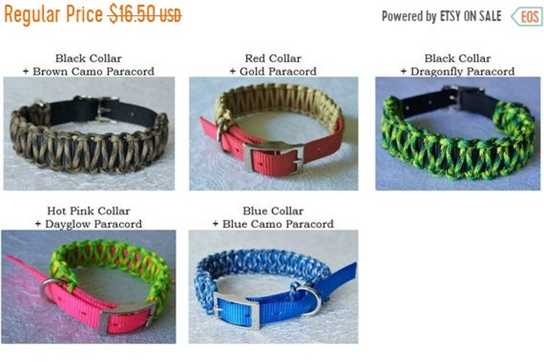 50% CLEARANCE 16 Nylon Dog Collar with Overlay Multiple image 0