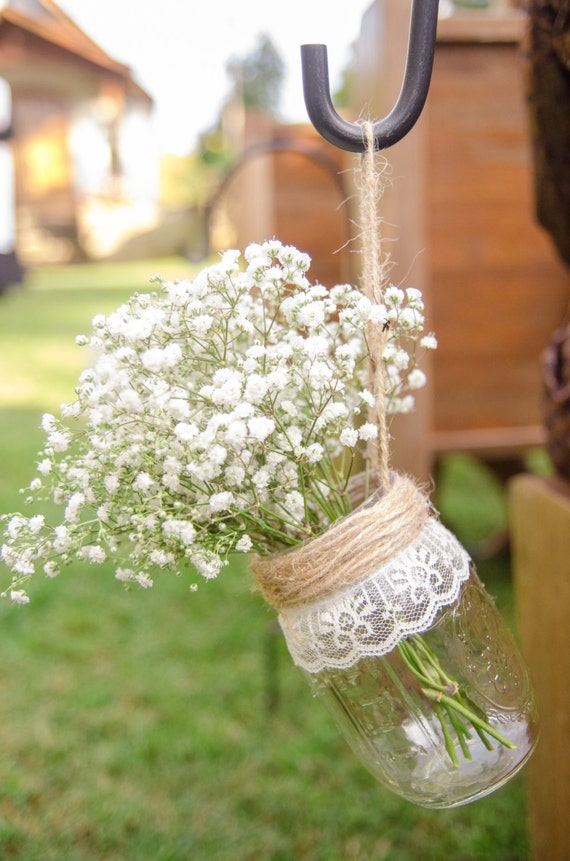 Hanging Mason Jar Vases Set Of 10 Wedding Aisle Decor Etsy