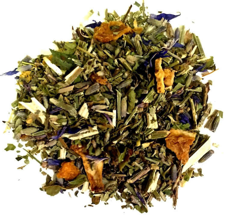 Lavender Orange Herbal, Loose Leaf (Looseleaf) Caffeine Free (Orange peel,  blue vervain, California poppy, lavender, catnip, cornflower