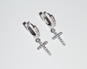 c70a710e3 PREORDER Sterling Silver Diamond Cross Huggie Earrings / Dainty Hoops / Huggie  Earrings / Cross Hoops / Cross Huggies / Cross Earrings/ Mens