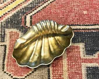 Vintage solid brass sea shell ashtray or soap dish