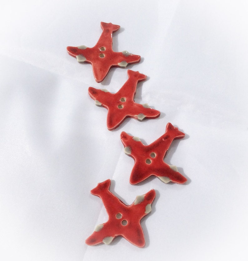 Red Airplane Button Ceramic Buttons Airplane Button Ceramic Red Airplane