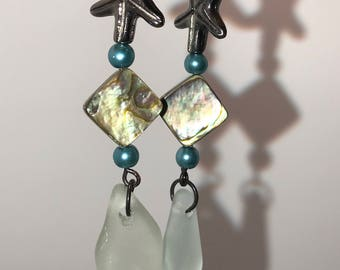 Aqua sea glass earrings with Starfish, great for a beach party..NAUTICAL!