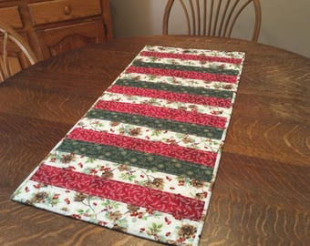 quilted table runner christmas table runner holiday table runner country christmas table runner red green white gold