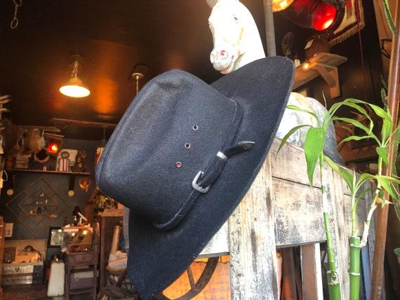 Western Flat Front Felt Hat || Black Felt Cowboy H