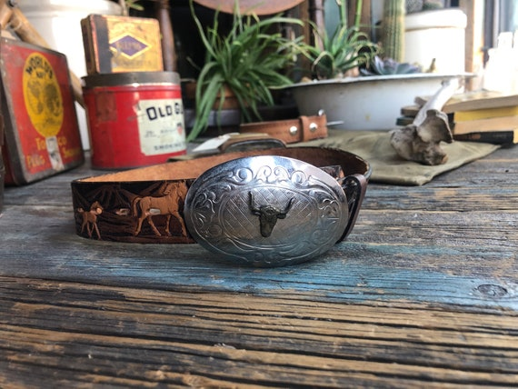 Tooled Leather Western Belt || Western Belt Buckle