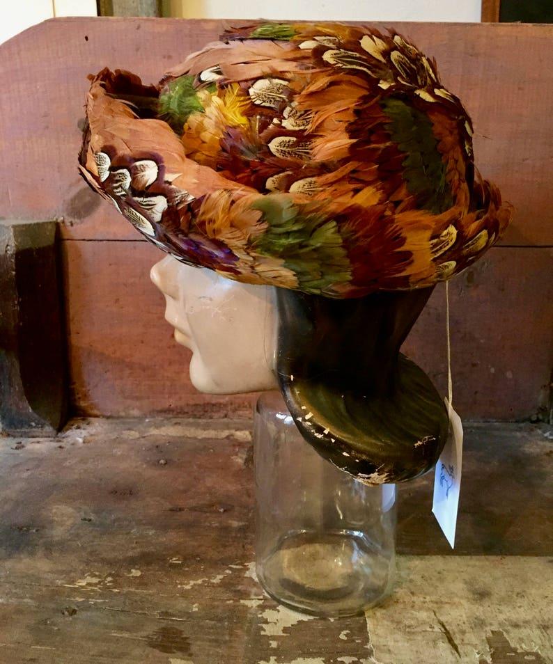 1950s pheasant hat  pheasant feather hat  vintage feather hat  formal feather hat  feather cloche hat