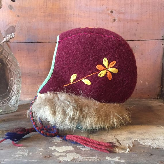 vintage children's winter wool hat / children's Na