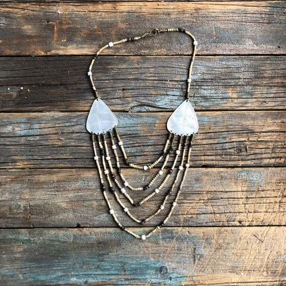 Pottery Look Ceramic Bead Necklace and Earring Set Handcrafted Set Boho Jewelry Bohemian Jewelry Rustic